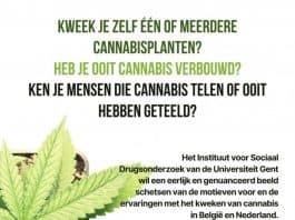 Universiteit Gent zoekt mensen die cannabis kweken voor online survey
