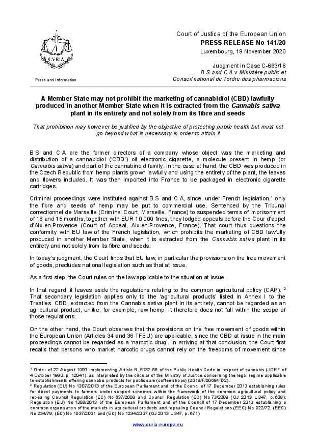 Hof van Justitie van de Europese Unie CBD