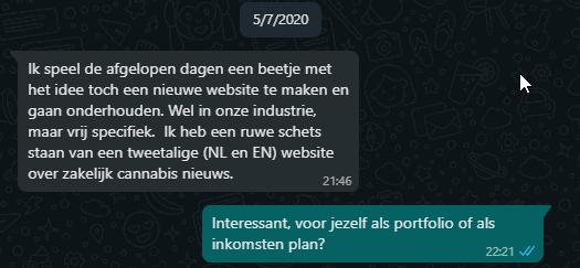 chat tussen Mauro en Jef over idee cannabisindustrie website