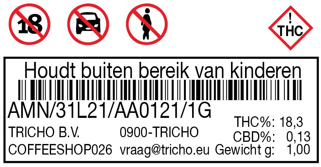 Voorbeeld van een sticker op een verpakking volgens eisen