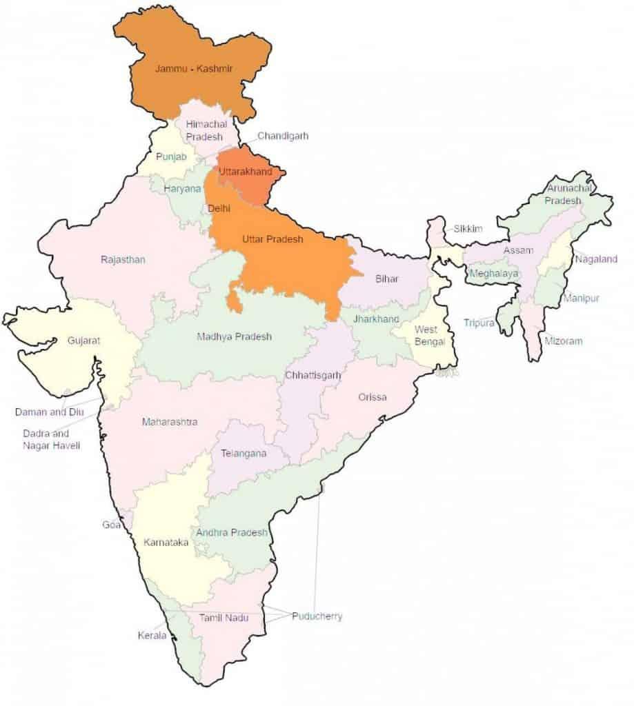 Kaart van India met de gebieden waar Boheco plant onderzoek doet